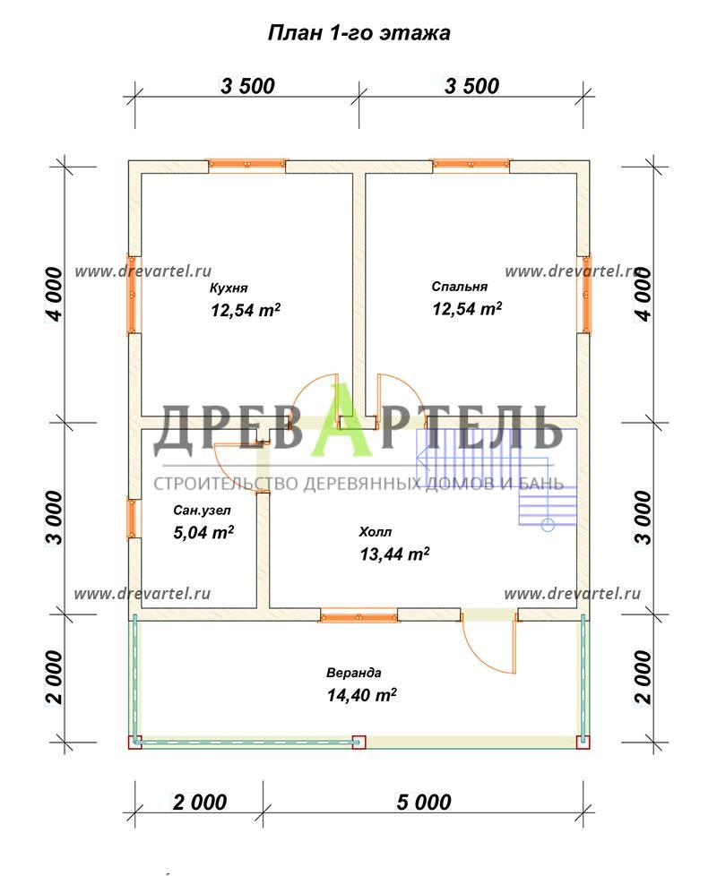 План 1-го этажа - Дом из бруса 7х7 с мансардой