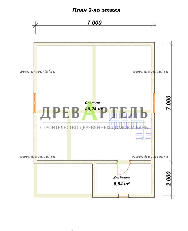 План 2-го этажа - Дом из бруса 7х7 с мансардой