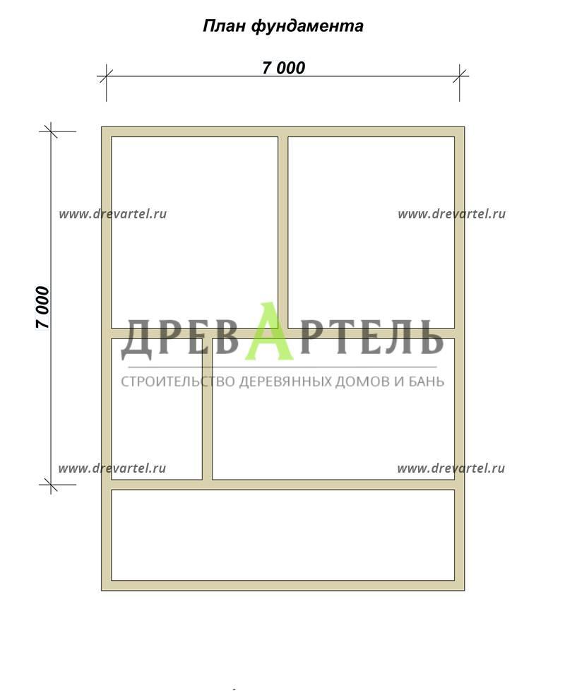 План ленточного фундамента - Дом из бруса 7х7 с мансардой
