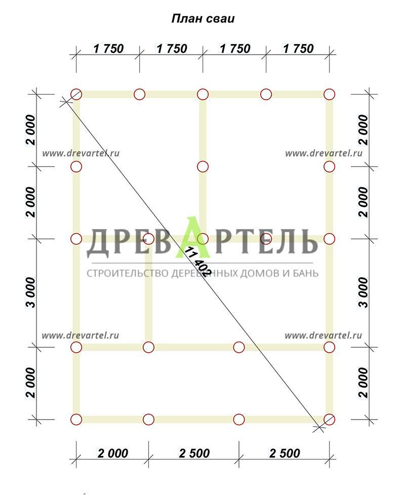 План свайного фундамента - Дом из бруса 7х7 с мансардой
