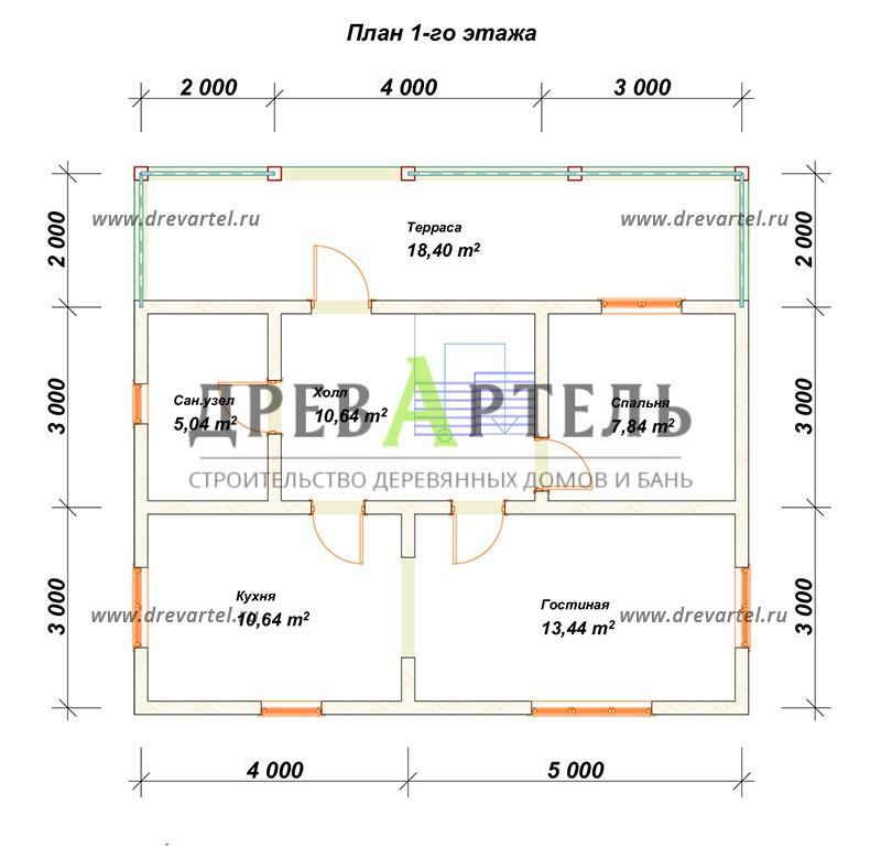 План 1-го этажа - Дом из бревна 8х9 с мансардой