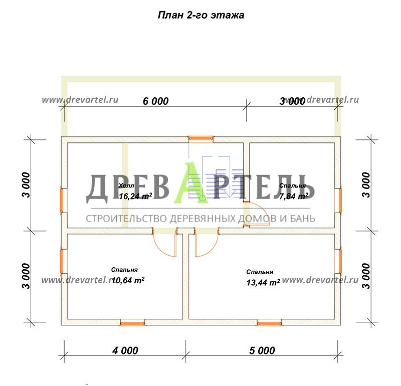 План 2-го этажа - Дом из бревна 8х9 с мансардой