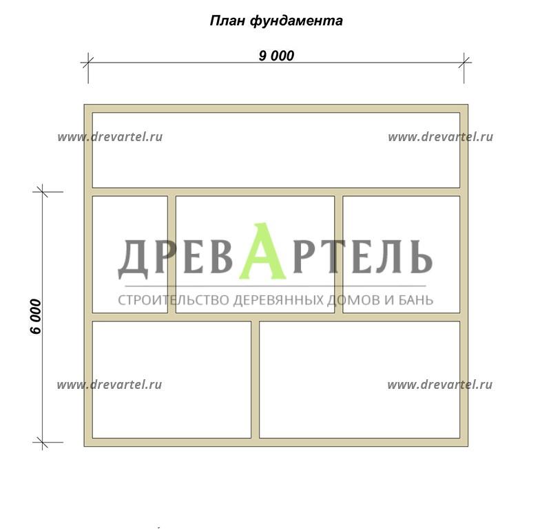 План ленточного фундамента - Дом из бревна 8х9 с мансардой