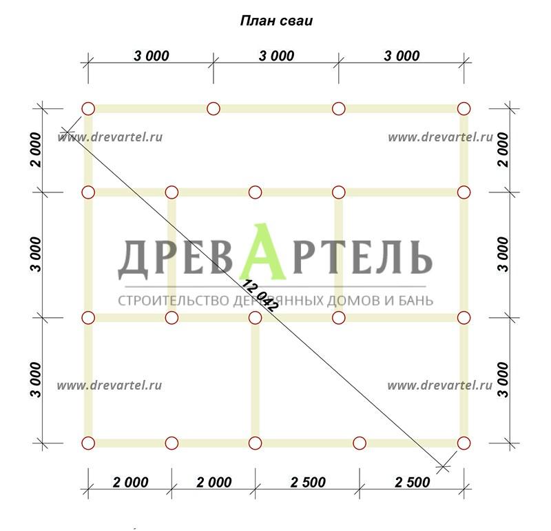 План свайного фундамента - Дом из бруса 8х9 с мансардой
