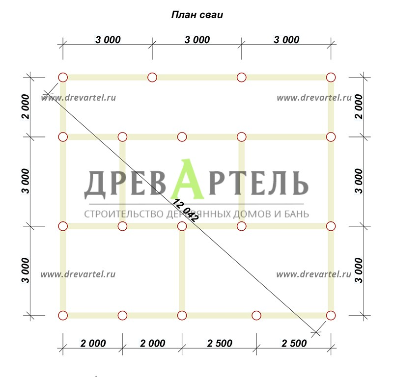 План свайного фундамента - Дом из бревна 8х9 с мансардой