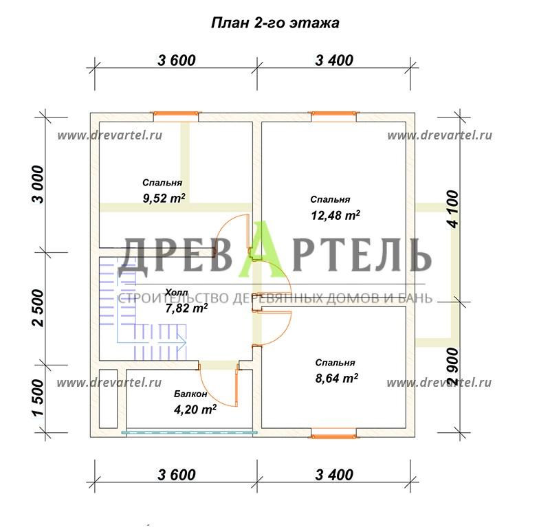 План 2-го этажа - Деревянный дом из бревна 7х7