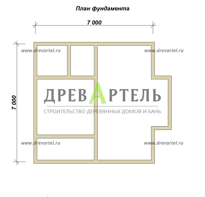 План ленточного фундамента - Деревянный дом из бревна 7х7