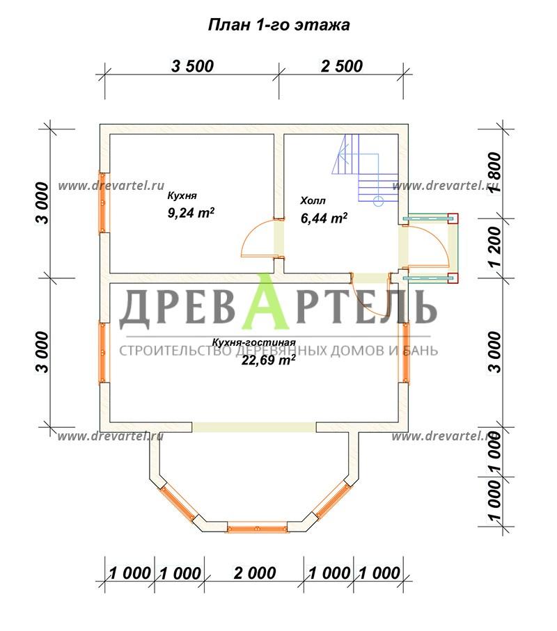 План 1-го этажа - Проект дачного дома 6х6