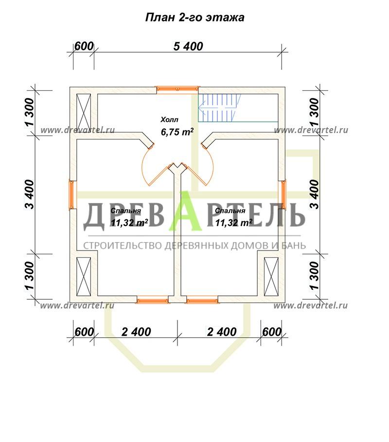 План 2-го этажа - Проект дачного дома 6х6