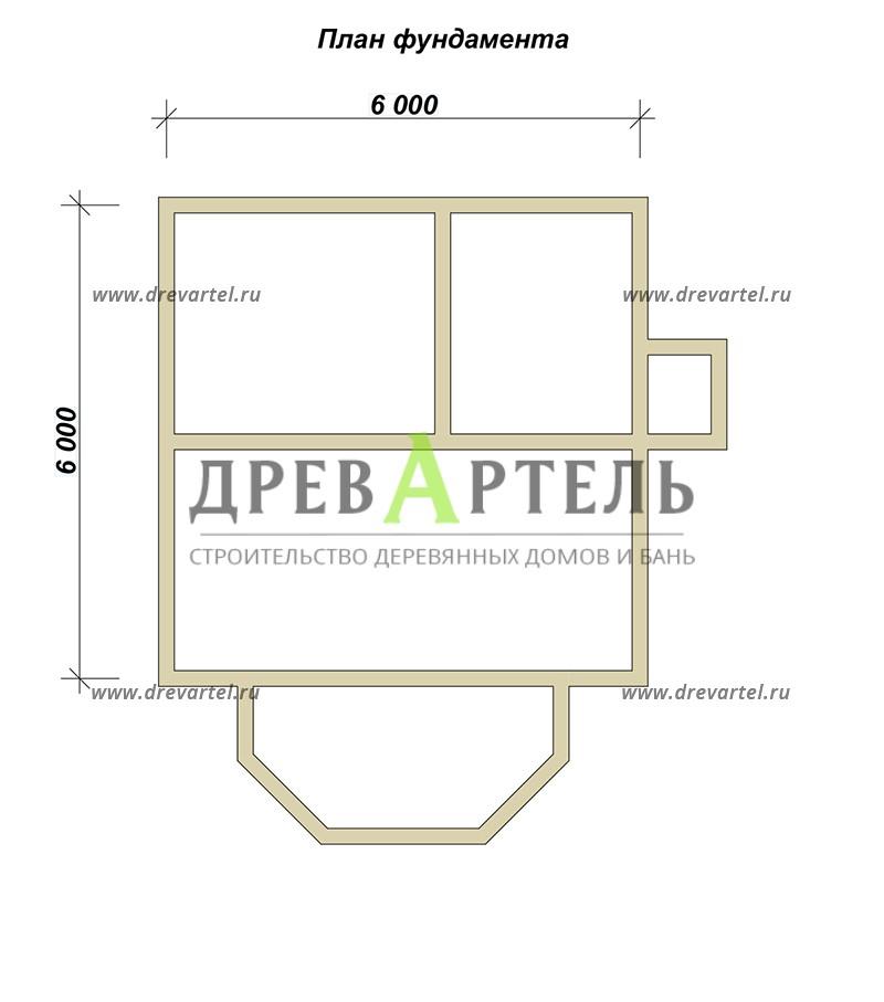 План ленточного фундамента - Проект дачного дома 6х6