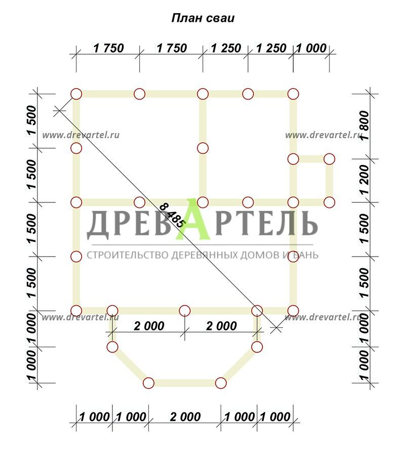 План свайного фундамента - Проект дачного дома 6х6