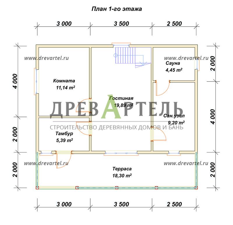 План 1-го этажа - Полутораэтажный дом из бруса 6х9