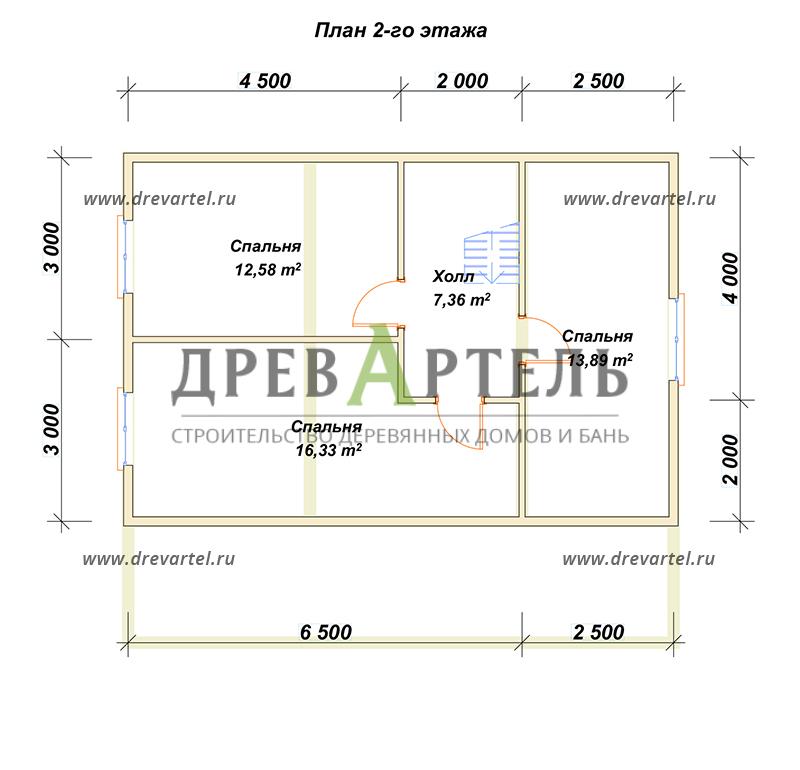 План 2-го этажа - Полутораэтажный дом из бруса 6х9