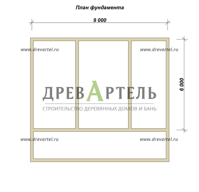 План ленточного фундамента - Полутораэтажный дом из бруса 6х9