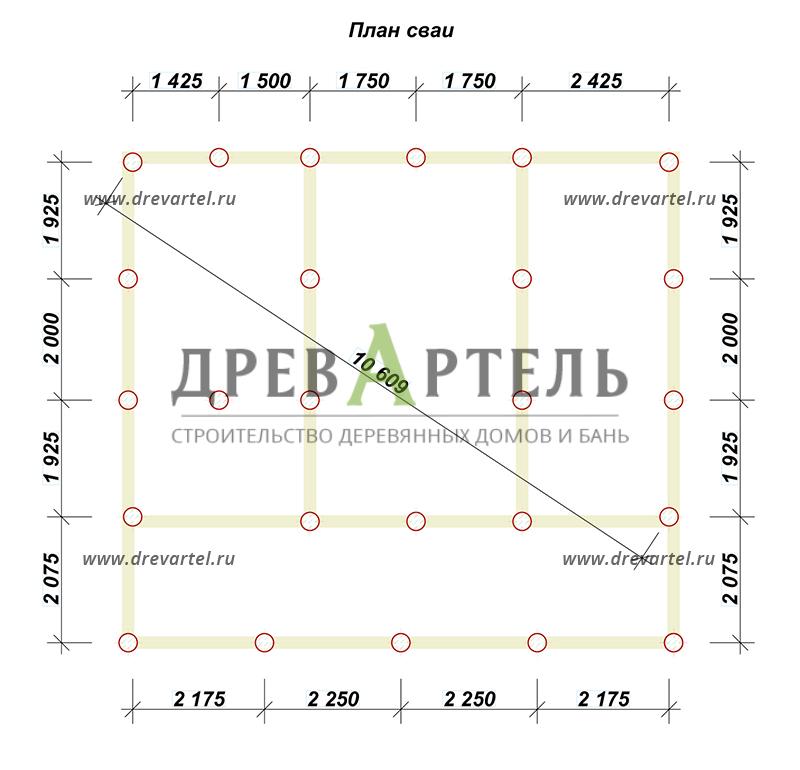 План свайного фундамента - Полутораэтажный дом из бруса 6х9