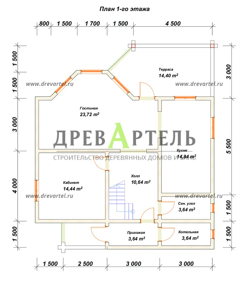 План 1-го этажа - Дом из бруса 9х13 под усадку