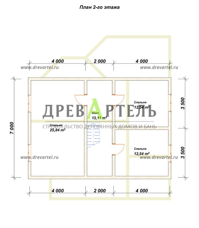 План 2-го этажа - Дом из бруса 9х13 под усадку