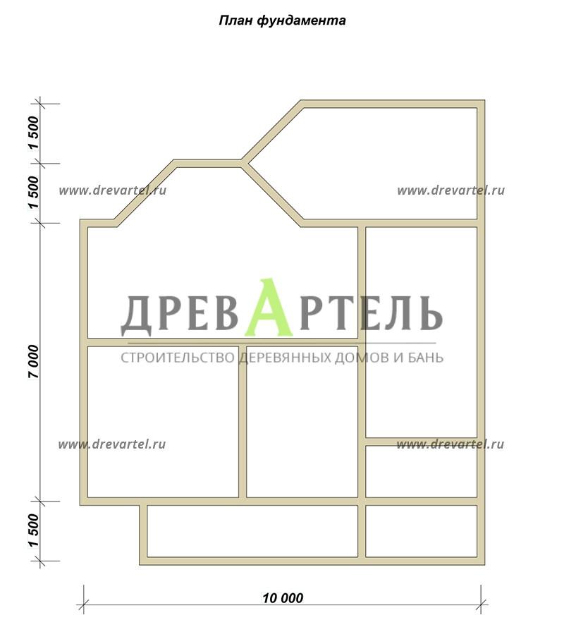 План ленточного фундамента - Дом из бруса 9х13 под усадку