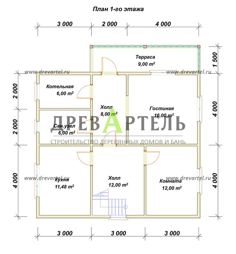 План 1-го этажа - Дом из бруса 8х9 в полтора этажа