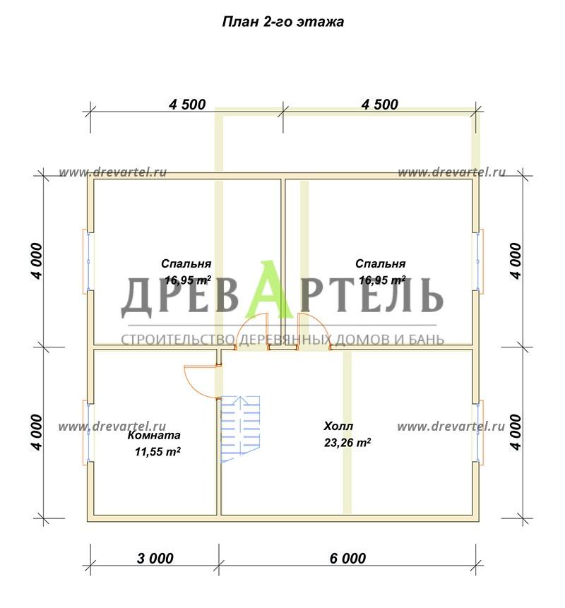 План 2-го этажа - Дом из бруса 8х9 в полтора этажа