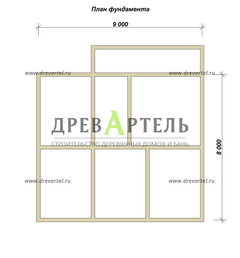 План ленточного фундамента - Дом из бруса 8х9 в полтора этажа