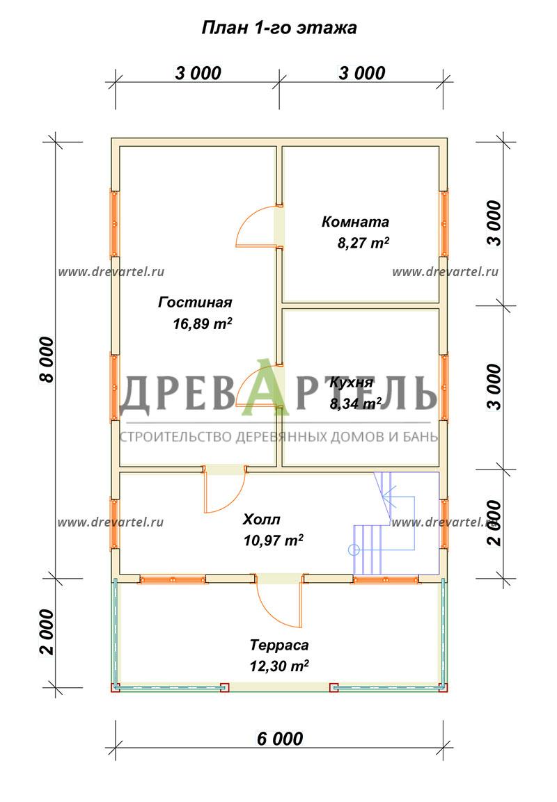 План 1-го этажа - Дом из бруса 6х8 с террасой и мансардой