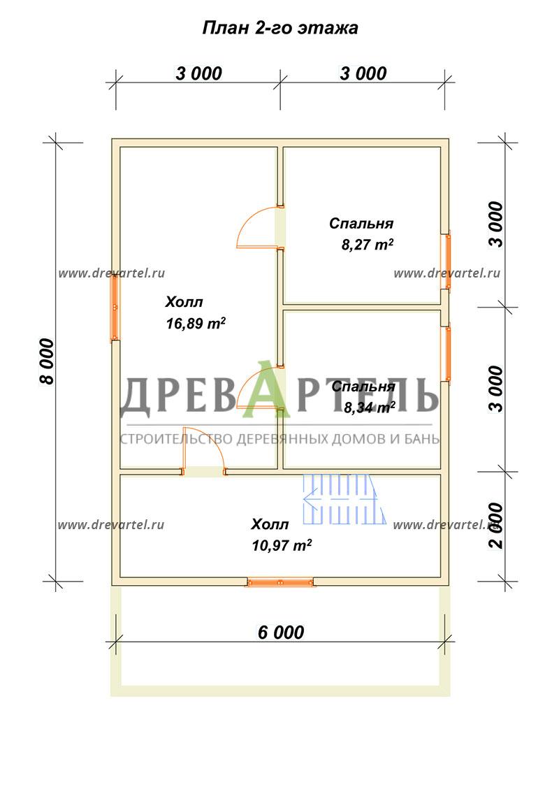 План 2-го этажа - Дом из бруса 6х8 с террасой и мансардой