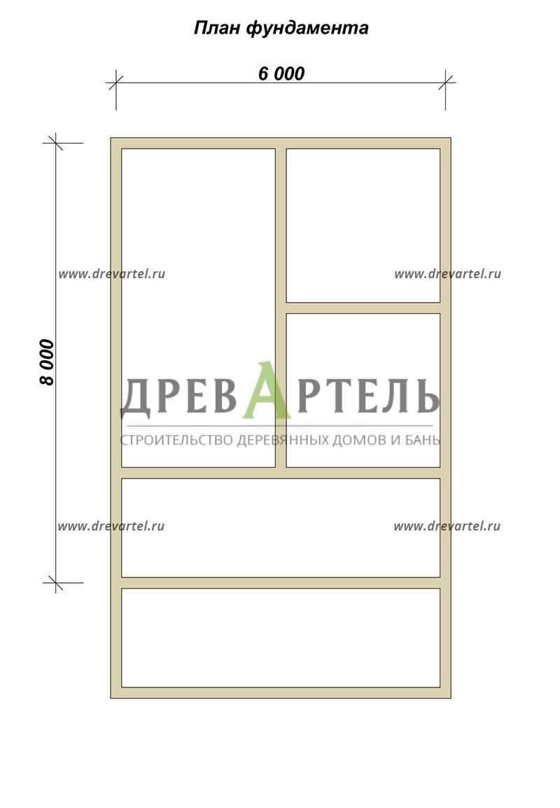 План ленточного фундамента - Дом из бруса 6х8 с террасой и мансардой