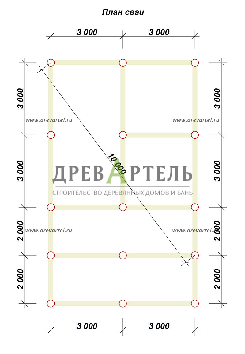 План свайного фундамента - Дом из бруса 6х8 с террасой и мансардой