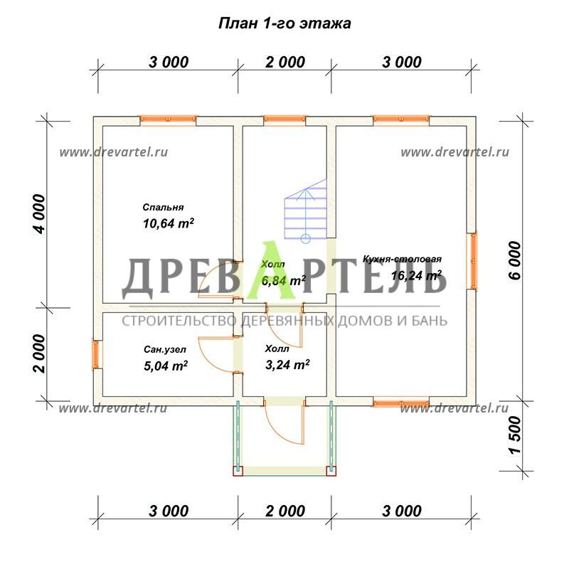 План 1-го этажа - Дом из бруса 6х8 с мансардой