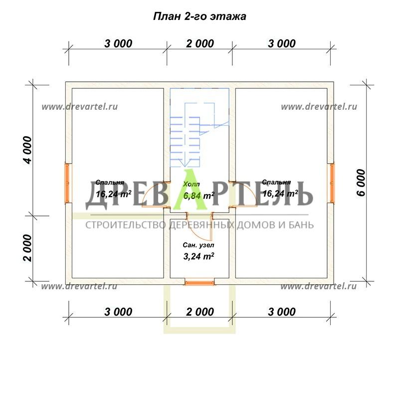 План 2-го этажа - Дом из бруса 6х8 с мансардой