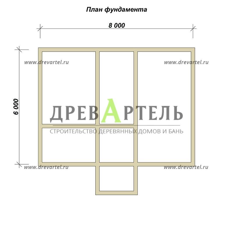 План ленточного фундамента - Дом из бревна 6х8 с мансардой