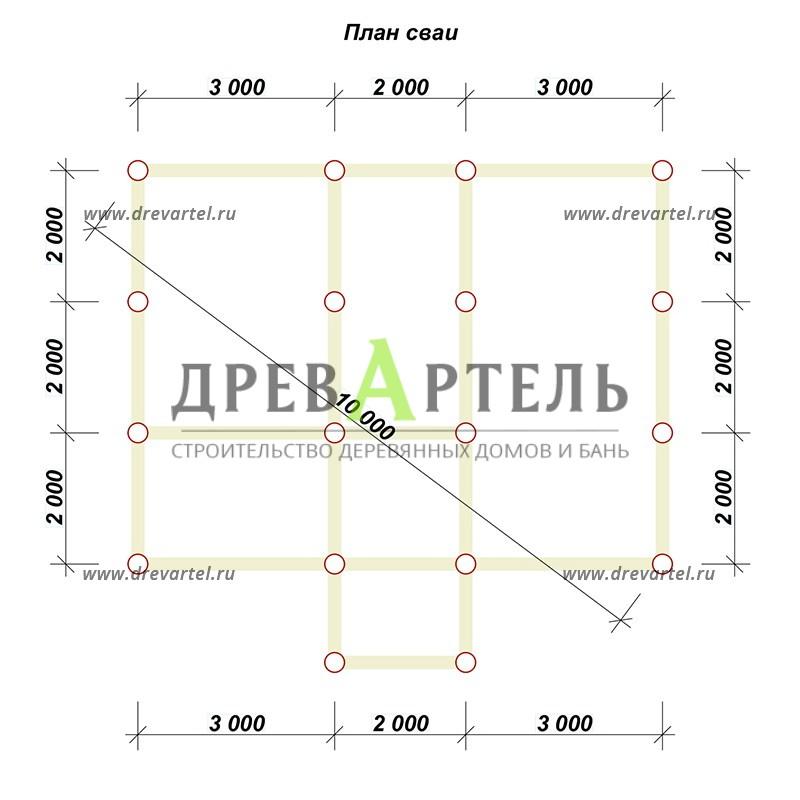 План свайного фундамента - Дом из бруса 6х8 с мансардой