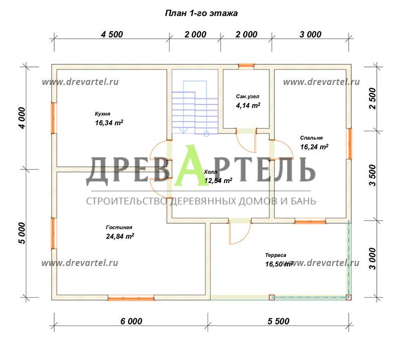 План 1-го этажа - Недорогой дом из бруса 11х9