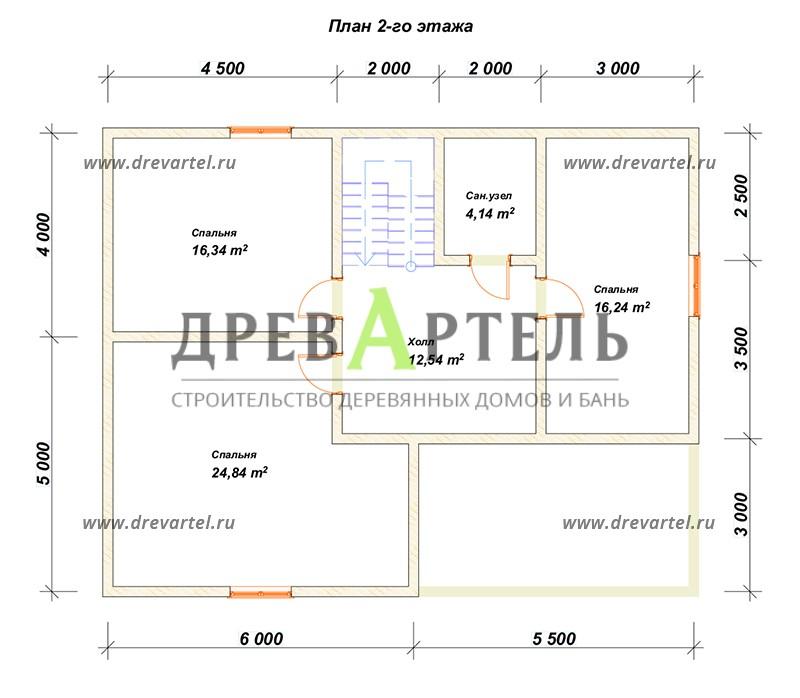 План 2-го этажа - Недорогой дом из бруса 11х9