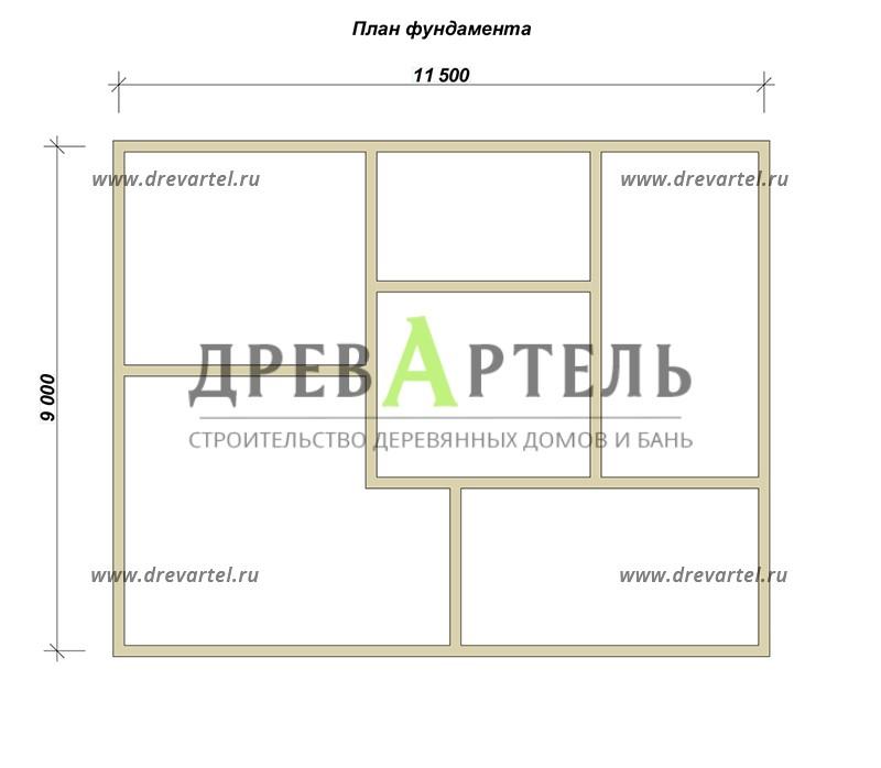 План ленточного фундамента - Недорогой дом из бруса 11х9