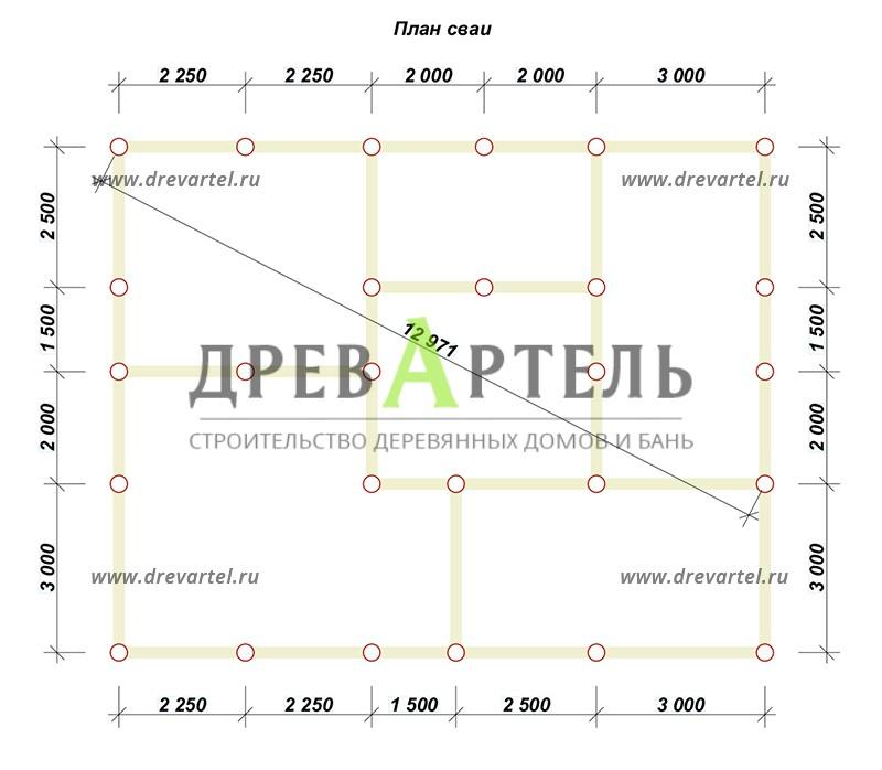 План свайного фундамента - Недорогой дом из бруса 11х9