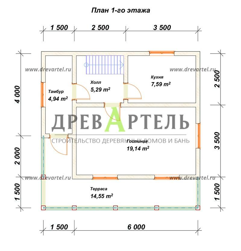 План 1-го этажа - Дом 6х7 с ломаной крышей из бруса