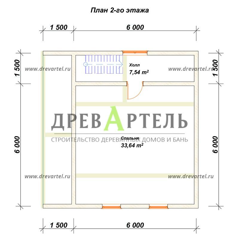 План 2-го этажа - Дом 6х7 с ломаной крышей из бруса