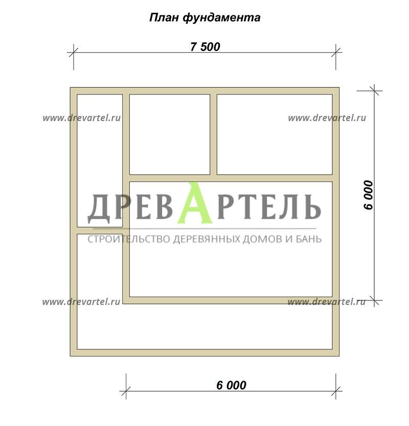 План ленточного фундамента - Дом 6х7 с ломаной крышей из бруса