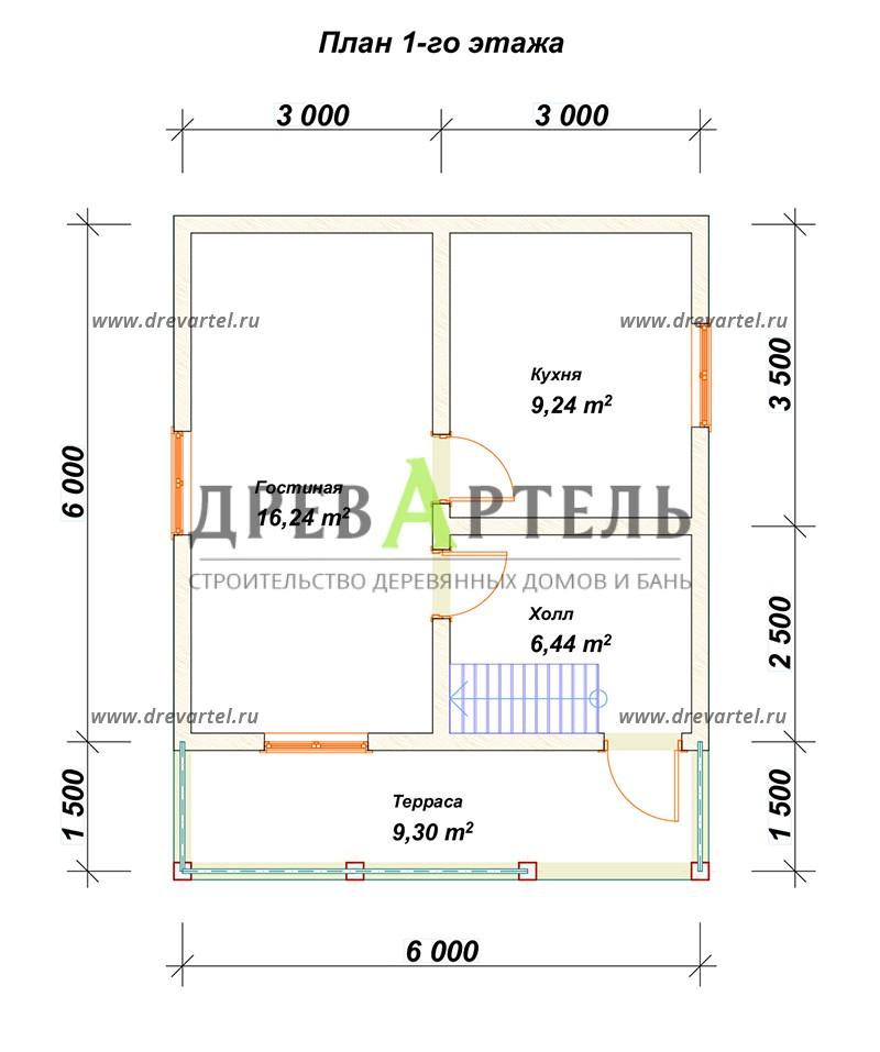 План 1-го этажа - Проект дачного дома из бруса 6х6