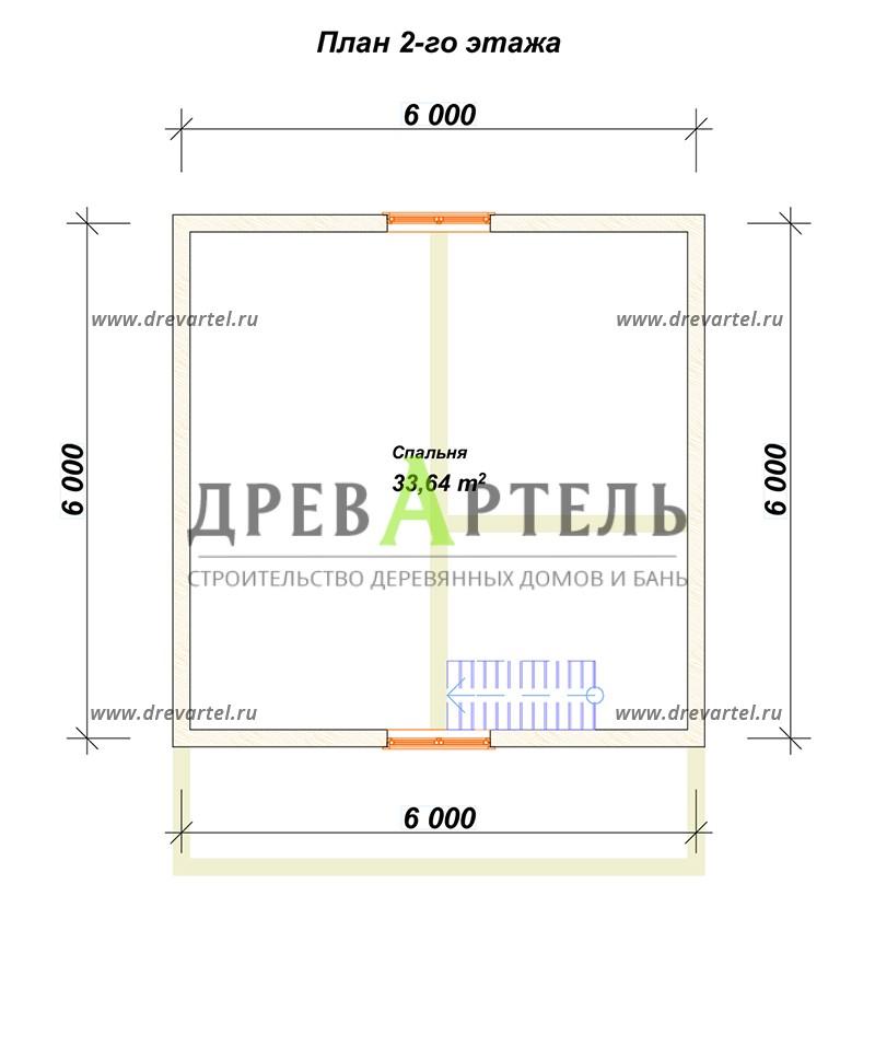 План 2-го этажа - Проект дачного дома из бруса 6х6
