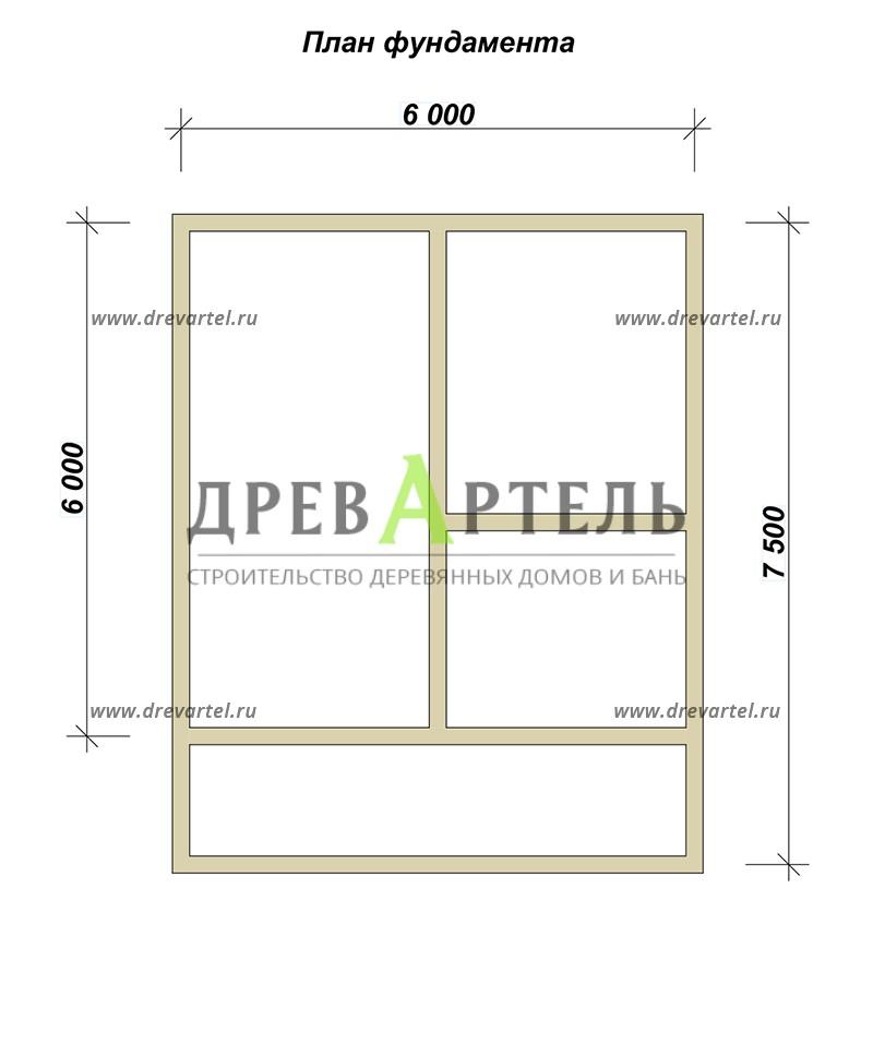 План ленточного фундамента - Проект дачного дома из бруса 6х6