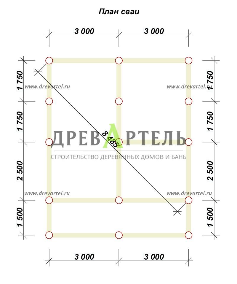 План свайного фундамента - Проект дачного дома из бруса 6х6