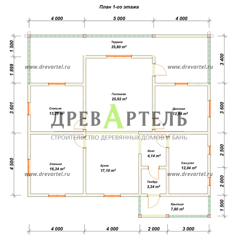 План 1-го этажа - Дом из бруса 12 на 13