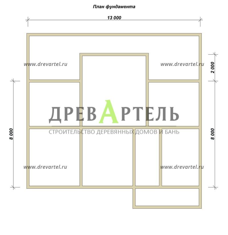 План ленточного фундамента - Дом из бруса 12 на 13
