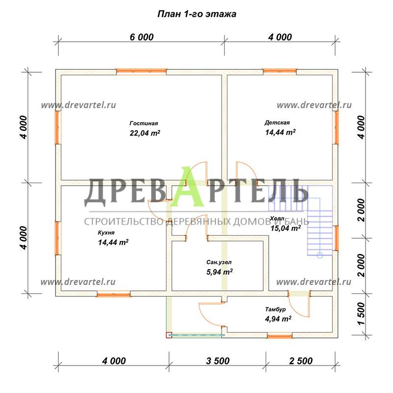 План 1-го этажа - Проект дома из профилированного бруса 9х10