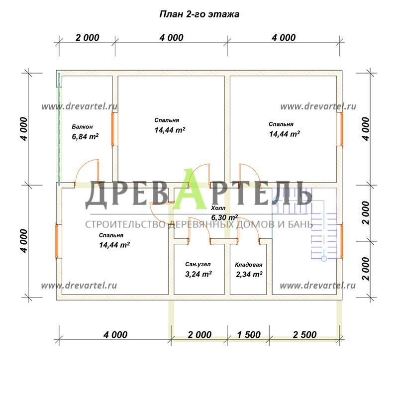 План 2-го этажа - Проект дома из профилированного бруса 9х10