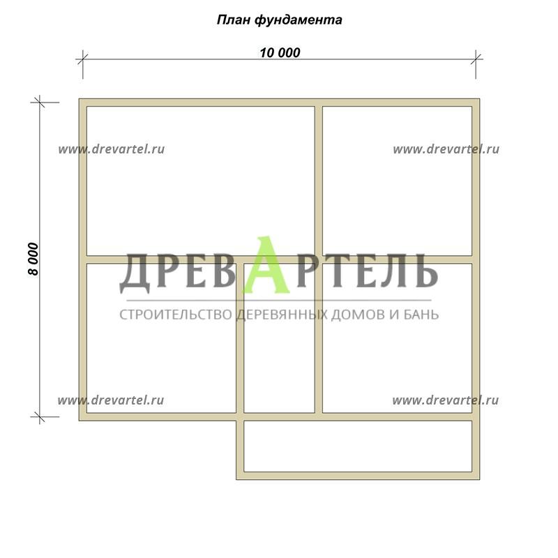 План ленточного фундамента - Проект дома из профилированного бруса 9х10