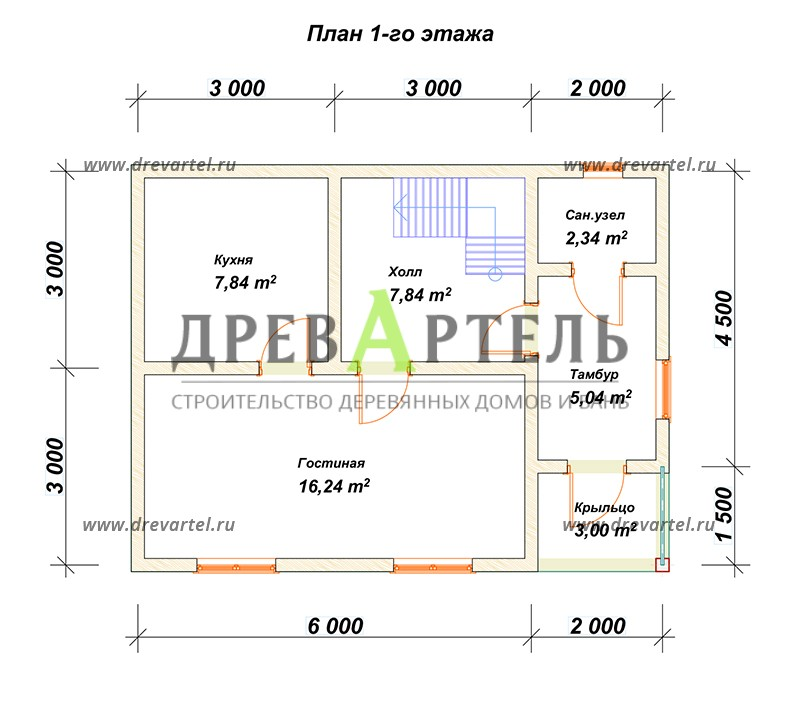 План 1-го этажа - Двухэтажный дом из бруса 6х8